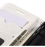 Wallet Book Case Cross Texture Wit voor Apple iPhone 7/8