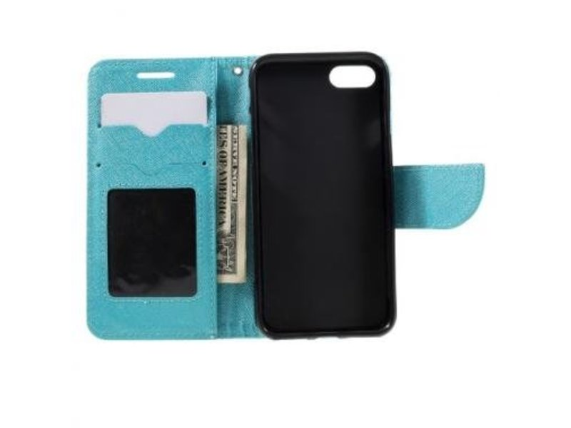 Mobiware Wallet Book Case Cross Texture Blauw voor Apple iPhone 7/8