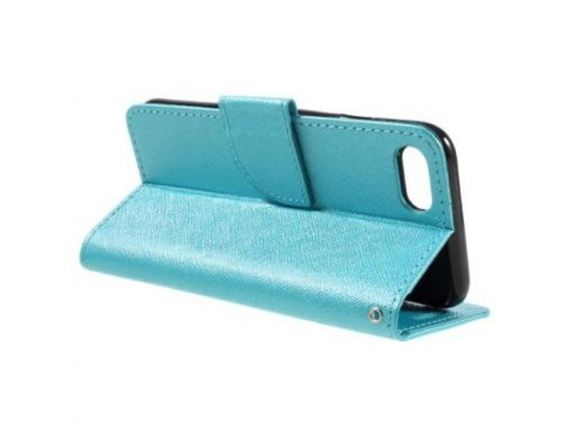 Wallet Book Case Cross Texture Blauw voor Apple iPhone 7/8