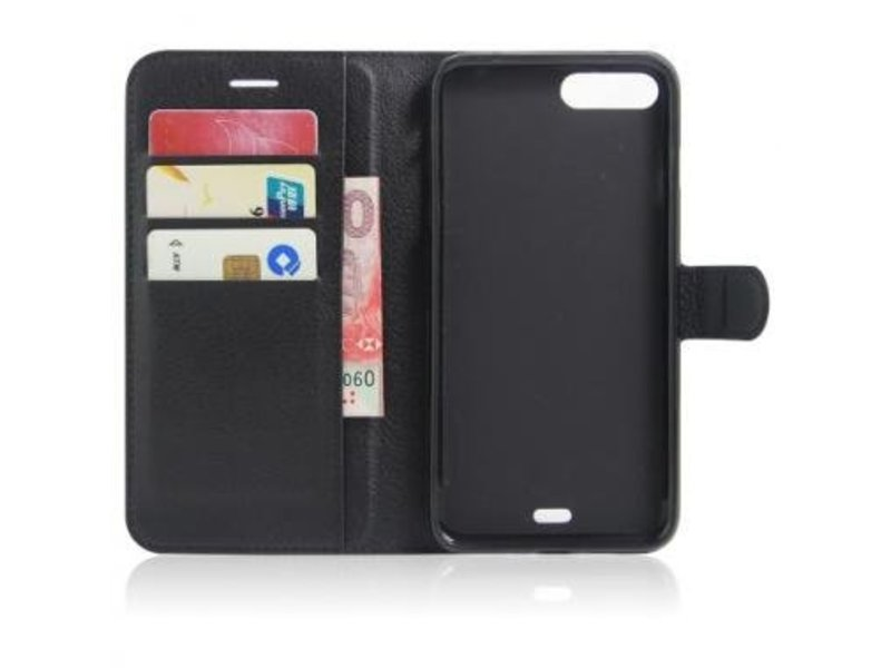 Mobiware Wallet Book Case Litchi Zwart voor Apple iPhone 7/8 Plus