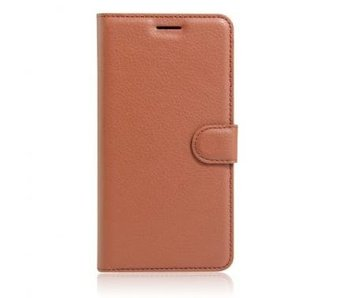 Wallet Book Case Litchi Bruin voor Apple iPhone 7 Plus