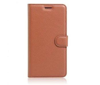 Wallet Book Case Litchi Bruin voor Apple iPhone 7 Plus