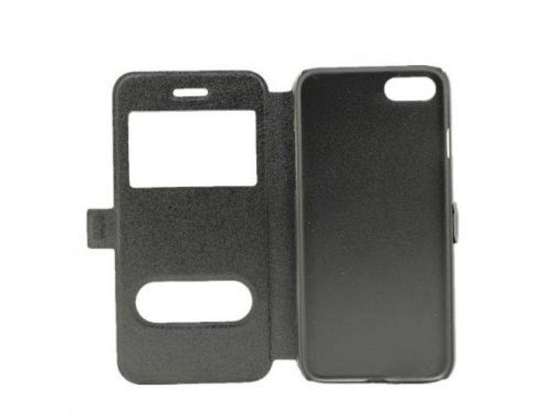 Book Case Dual Window Zwart voor Apple iPhone 7/8
