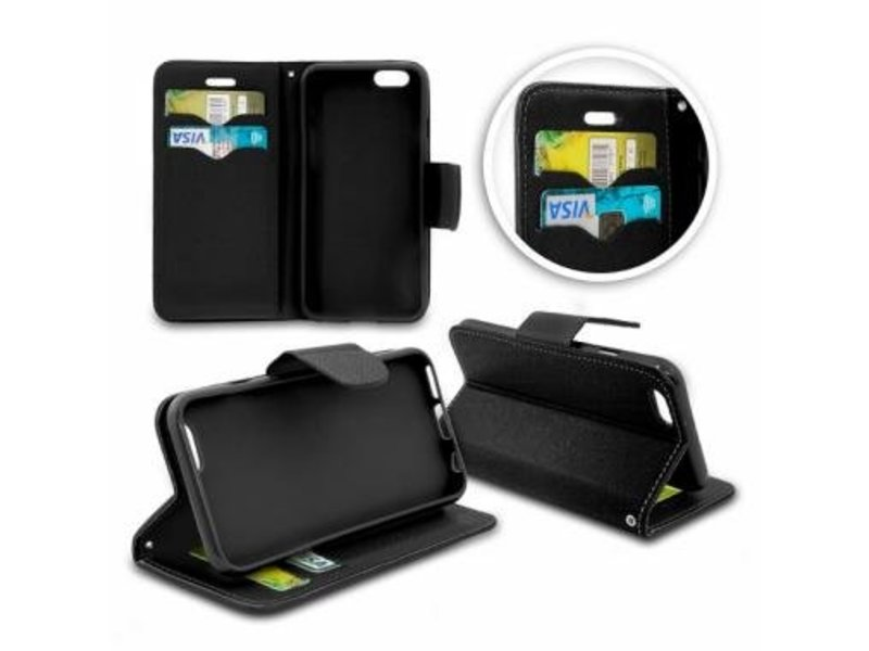 Wallet Book Case Zwart voor Huawei P10