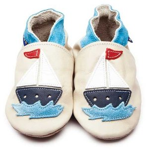 Inch Blue babyslofjes sail boat cream