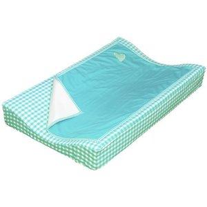 Taftan aankleedkussenhoes met deken turquoise