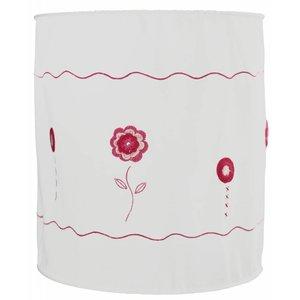 Taftan hanglamp zachte kap haakwerk bloemen roze