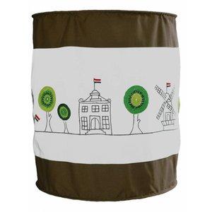 Taftan hanglamp zachte kap haakwerk huisjes boompjes groen