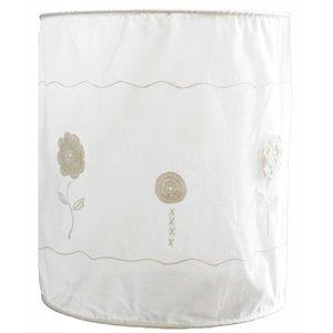 Taftan hanglamp zachte kap haakwerk bloemen wit