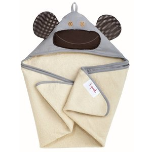 3Sprouts Hooded Towel Monkey Grey