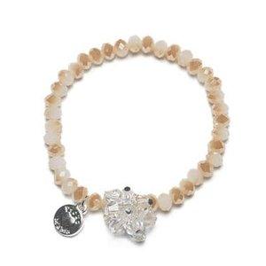 Proud MaMa armband Charm creme beads
