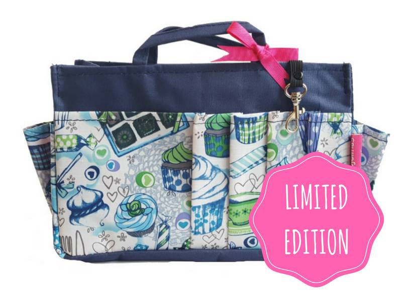 Bag in Bag  Medium  Limited Edition  Blauw / Cupcakes