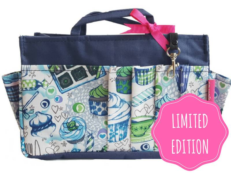 Bag in Bag - Large - Limited Edition - Blauw - Cupcakes