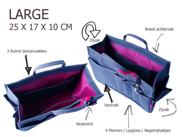 Bag in Bag - Large - Limited Edition - Blauw / Cupcakes