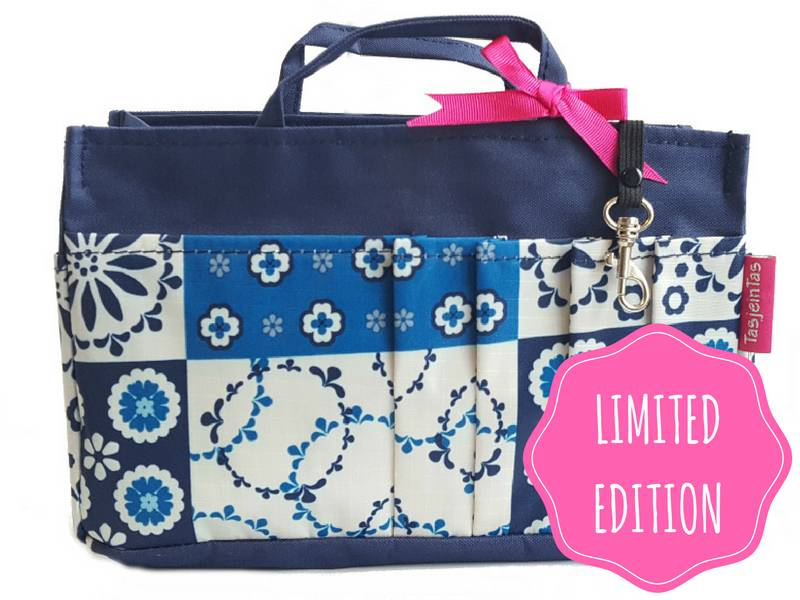 Bag in Bag  Medium  Limited Edition  Blauw / Tegeltjes