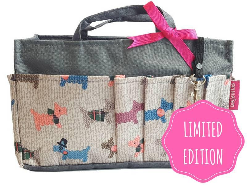 Bag in Bag - Medium - Limited Edition - Grijs - Gehaakte Hondjes