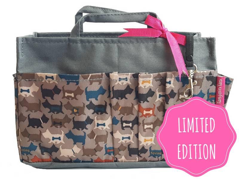 Bag in Bag - Medium - Limited Edition - Grijs - Hondjes
