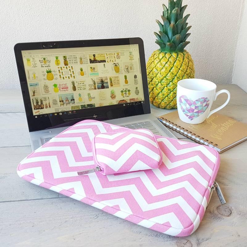 13inch Dames Laptop Sleeve Zigzag Roze