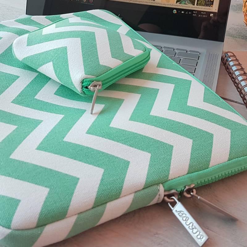 13inch Dames Laptop Sleeve Zigzag Pistache