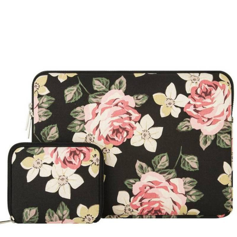 13inch-Dames-Laptop-sleeve-Roses-Zwart