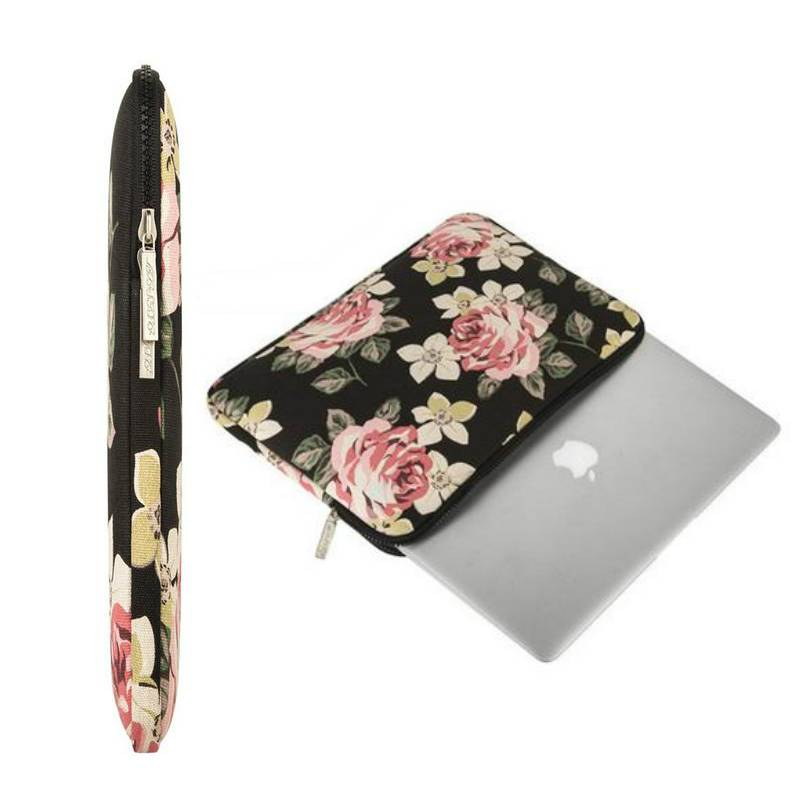 13inch Dames Laptop Sleeve Roses Zwart
