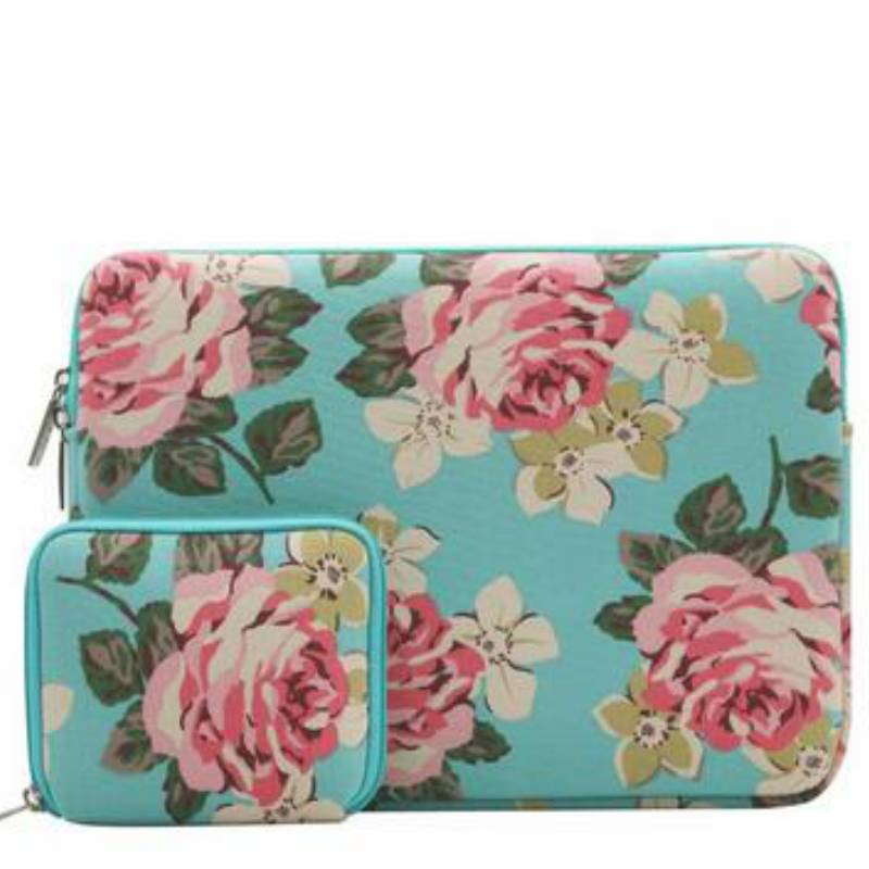 13inch-Dames-Laptop-sleeve-Roses-Blauw