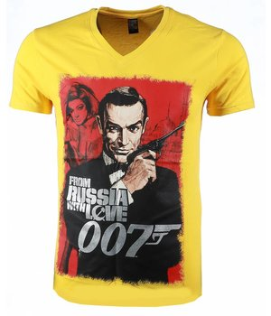Mascherano T-shirt - James Bond From Russia 007 Print - Geel