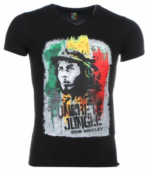 Mascherano T-shirt - Bob Marley Concrete Jungle Print - Zwart