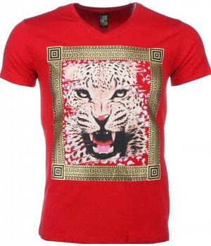 Mascherano T-shirt - Tijger Print - Rood