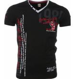 David Mello Italiaanse T-shirt - Korte Mouwen Heren - Borduur Polo Club - Zwart
