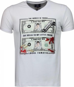 Local Fanatic Scarface Dollar - T-shirt - Wit