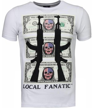 Local Fanatic AK-47 Dollar - Rhinestone T-shirt - Wit