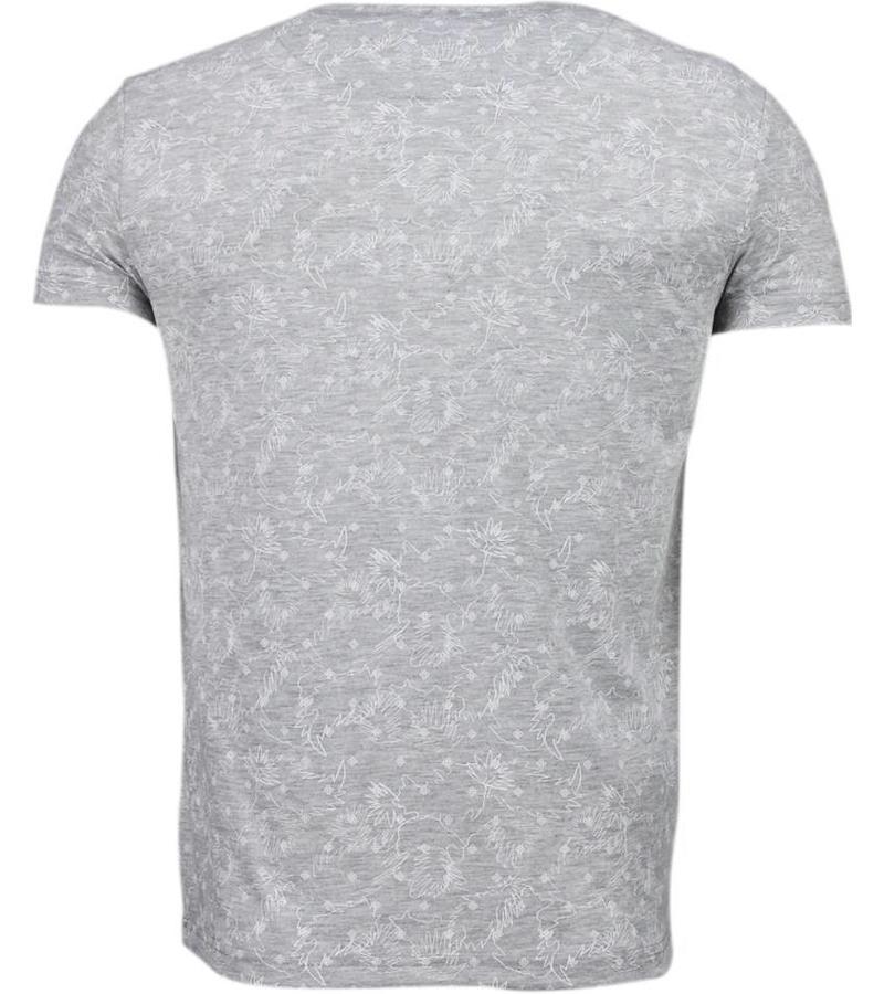 Black Number Blader Motief Summer - T-Shirt - Grijs