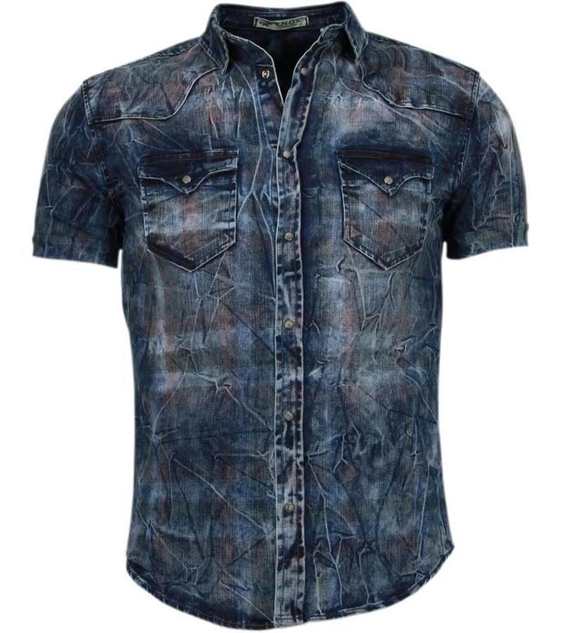 denim blouse korte mouw