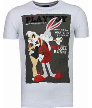 Local Fanatic Playtoy Bunny - Rhinestone T-shirt - Wit