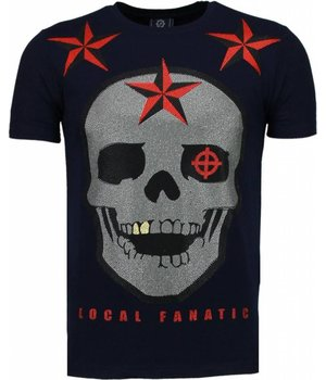 Local Fanatic Rough Player Skull - Rhinestone T-shirt - Navy