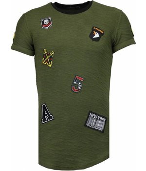 John H Exclusief Military Patches - T-Shirt - Groen