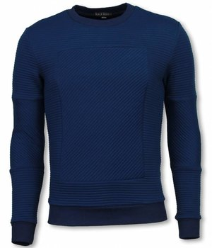Black Number 3D Ribbel Square Crewneck- Sweater - Blauw