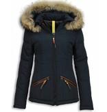 Milan Ferronetti Bontjassen - Dames Winterjas Kort - Beads Edition - Blauw