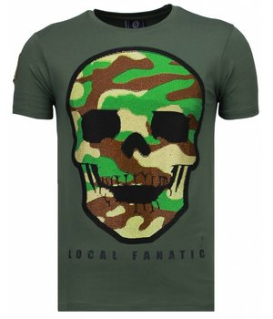 Local Fanatic Army Skull - Rhinestone T-shirt - Groen