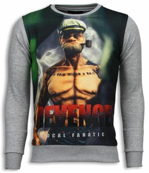 Local Fanatic Popeye Revenge - Sweater - Licht Grijs