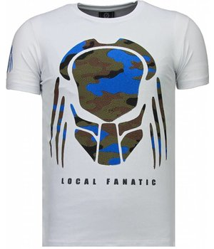 Local Fanatic Predator - Rhinestone T-shirt - Wit