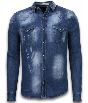 Enos Denim Shirt - SpijkerBlouse Slim Fit Long Sleeve - Vintage Look - Blauw