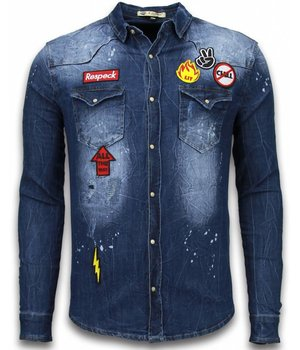 Enos Denim Shirt - SpijkerBlouse Slim Fit Long Sleeve - Embroidery - Blauw