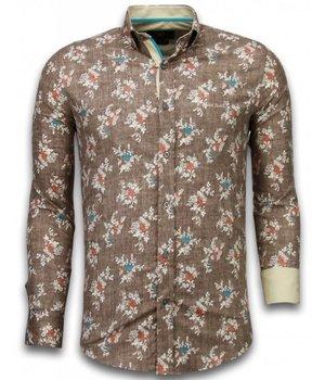 Gentile Bellini Italiaanse Overhemden - Slim Fit Overhemd - Blouse Woven Flowers Pattern - Bruin
