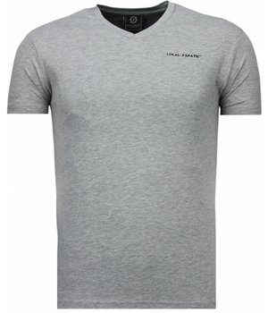 Local Fanatic Basic Exclusieve V Neck - T-Shirt - Grijs