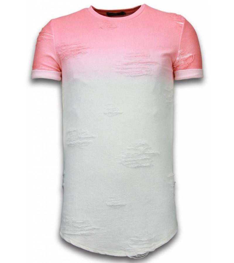 John H Flare Effect T-shirt - Long Fit Shirt Dual Colored - Zalm Rood