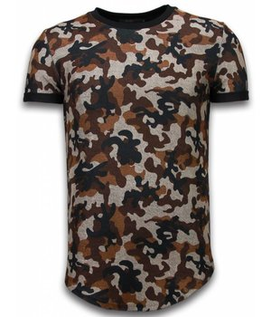 John H Camouflaged Fashionable T-shirt - Long Fit Shirt Army Pattern - Bruin