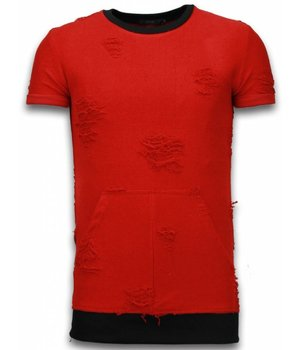 John H Tie Pocked T-shirt - Long Fit Shirt Zipped - Rood