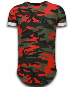 Uniplay Known Camouflage T-shirt - Long Fit Shirt Army - Rood